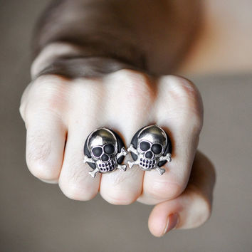 Skull Cufflinks Crossbones Gothic Rocker Punk by CreaShines