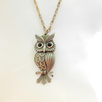 ON SALE Pewter Owl Necklace Black Glass Eyes