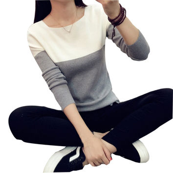 Women Elastic Knitted Sweater Split Pullovers