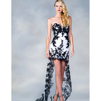2013 Prom Dresses - White And Black Sweetheart High Low Lace Dress - Unique Vintage - Cocktail, Pinup, Holiday & Prom Dresses.