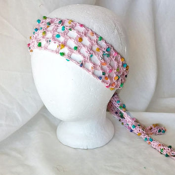 Pink crochet tie belt Boho hippie head band Skinny scarf Pom pom  Teen Hair tie Hair wrap lime turquoise