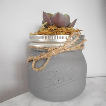 Grey Mason Jar Succulent Pot, Decorative Succulent, Farmhouse Decor, Rustic, Kitchen, Bathroom, Home, Office, Thank You Gifts, Favors