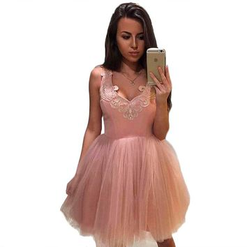 new women summer sexy sleeveless Ball Gown slim mini dress ladies fashion v-neck lace mesh patchwork A-line mini dress