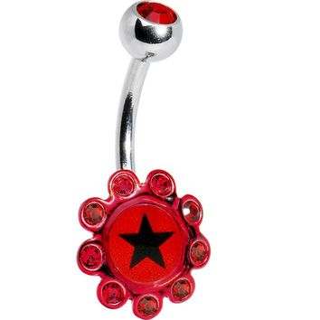 Ruby Red Gem BLACK STAR Logo Flower Belly Ring