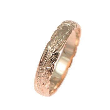 14K ROSE GOLD CUSTOM HAND ENGRAVED HAWAIIAN PRINCESS PLUMERIA SCROLL CUT OUT EDGE BAND RING 4MM
