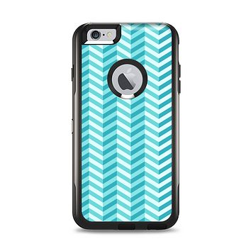 The Light Blue Thin Lined Zigzag Pattern Apple iPhone 6 Plus Otterbox Commuter Case Skin Set