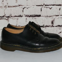 Dr Martens Loafers Leather Black us 6 uk 4 Grunge Hipster boho Goth Festival docs chunky boots shoes oxford distressed