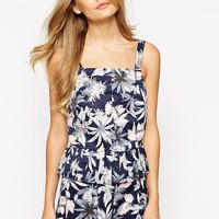 Dahlia Top With Pleated Hem In Leaf Print