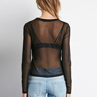 Black Sheer Mesh Long Sleeves Blouse