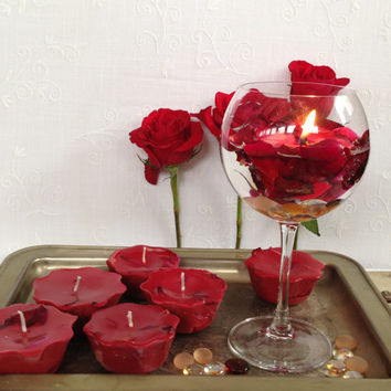 Red floating flowery soy candles, red with rose petals soy candles, a set of six rose red floating soy candles, scented floating soy candles