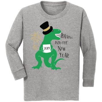 Roaaring Into The New Year Shirt Dinosaur Gray Green Boy