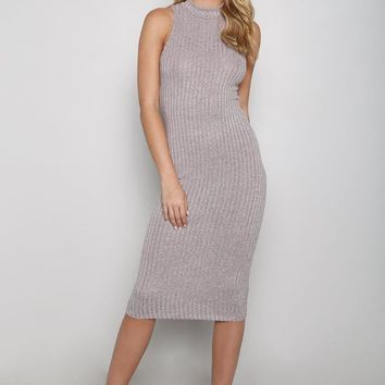 Sleeveless Rib Knit Sweater Midi Dress