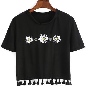 Black Daisy Printed Tasseled Crop Top