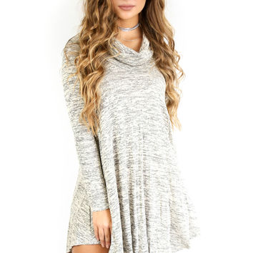 Uptown Girl Heather Gray Cowl Neck Sweater Dress