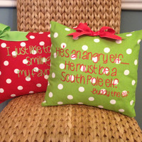"""Buddy the elf Christmas Pillow Cover Red with white dots """"I just like to smile, smilings my favorite!"""""""
