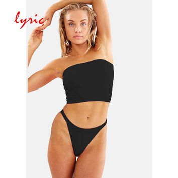 Lyric 2019 Biquini Tube top Bandeau Sexy Solid Women Swimsuit Brazilian Bikini Set Beach Bathing Suit Swim Swimwear