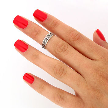 sterling silver knuckle ring Snake design above knuckle ring adjustable midi ring (T-63) Also Toe ring