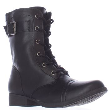 AR35 Faylln Lace Up Combat Boots, Black, 7 US