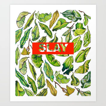 slay tea slay! // watercolor tea leaf pattern with millennial slang Art Print by Camila Quintana S