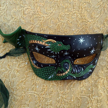 Green and Bronze Dragon MaskStarry Night by Merimask on Etsy