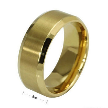 8MM Trendy Titanium Steel B  Brushed Wedding B s Stainless Steel Solid Ring Men Gold Silver Black Classic Ring SM6