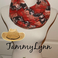 Orange Red Southwestern Horse FLANNEL Cotton Infinity Scarf Cowgirl Soft Women's Accessories