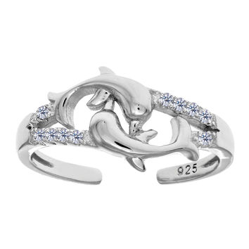 Sterling Silver Rhodium Plated 2 Dolphin With CZ Cuff Style Adjustable Toe Ring