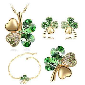 Necklace earrings bracelet brooch charm girl quality gold Crystal Clover 4 Leaf heart Pendant fashion jewelry set