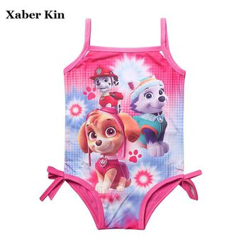 XABER KIN Girls Cartoon Dog Swimsuit One-Piece Rose Swimming Bathing Suits For 3-9Y Children Swimsuit Girls G2-K427
