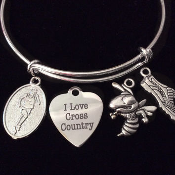 I Love Cross Country Silver Expandable Charm Bracelet Adjustable Wire Bangle Finish Line Gift Trendy
