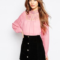 ASOS Lace Insert Victoriana Blouse