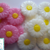 Gerber Daisy Soap Party Favors - Daisies Bridal Shower Wedding Scented Guest Soaps Spring Garden Party Engagement | Pack of 25