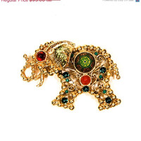Summer Sale Juliana D & E Elephant Brooch, Pendant, Moroccan Collection, Bejeweled, Gold Tone, Emerald Green, Rhinestones, Designer Vintage