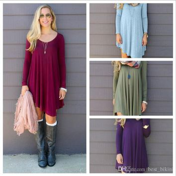 Women Clothing Shirt Dresses Irregular Loose V-neck Long-sleeved Empire Waist Dresses Top Plus Tunic Boho Dresses YYA152