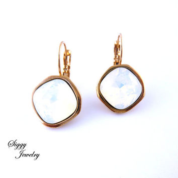 White Opal Swarovski Crystal Earrings, 12mm Cushion Cut, Rose Gold Finish, Opaque White, Lever Back Drops,  Siggy Jewelry
