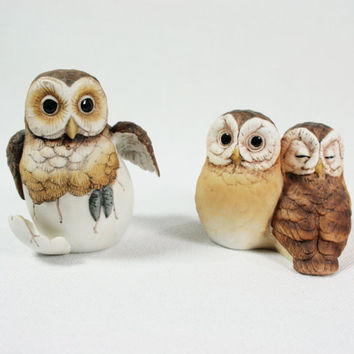 Vintage Andrea by Sadek Porcelain Owl Figurines Set of Two
