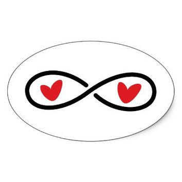 Infinity symbol with red love hearts modern oval sticker from Zazzle.com