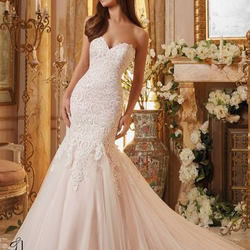 Blu by Mori Lee 5461 Strapless Lace Mermaid Wedding Dress