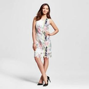 Women's Printed Lace Shift Dress with Lasercut Floral Pattern Ivory - DR Collections