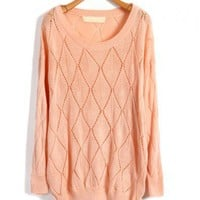 Diamond Design Knit Pullovers with Ribbed Trim