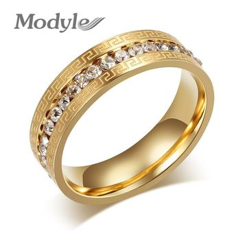 Modyle Brand Gold Rings for Women Vintage Charms Austrian Crystal Wedding Ring Stainless Steel Jewerly