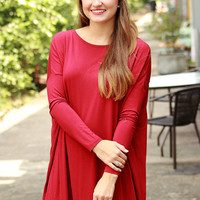 Piko Dress - Dark Red