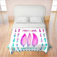Duvet Covers Premium Woven Twin, Queen, King from DiaNoche Designs by Monika Strigel Home Decor and Bedding Ideas - Hakuna Matata II