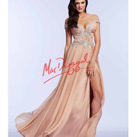 Mac Duggal 64990M Nude Off The Shoulder Sliver Beaded Gown 2015 Prom Dresses
