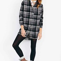 Raga Bushed-Wool Plaid Button-Down Shirt- Dark Grey