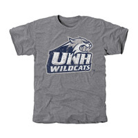 New Hampshire Wildcats Distressed Secondary Tri-Blend T-Shirt - Ash