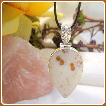 """Wellness"" Polka-Dot Agate Sterling Silver Pendant & Chain"