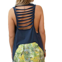 Blue loose open back top / Backless Top / Organic Cotton top / asymmetric women top / sexy summer top / one size loose top/ Sexy Blouse