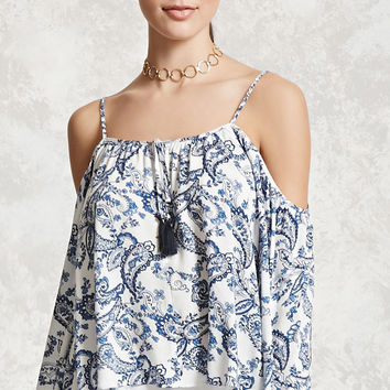 Paisley Open-Shoulder Top