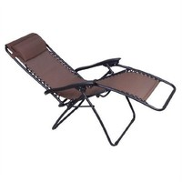 Brown Outdoor Zero Gravity Patio Recliner Lounge Chair - 300 LB Weight Capacity